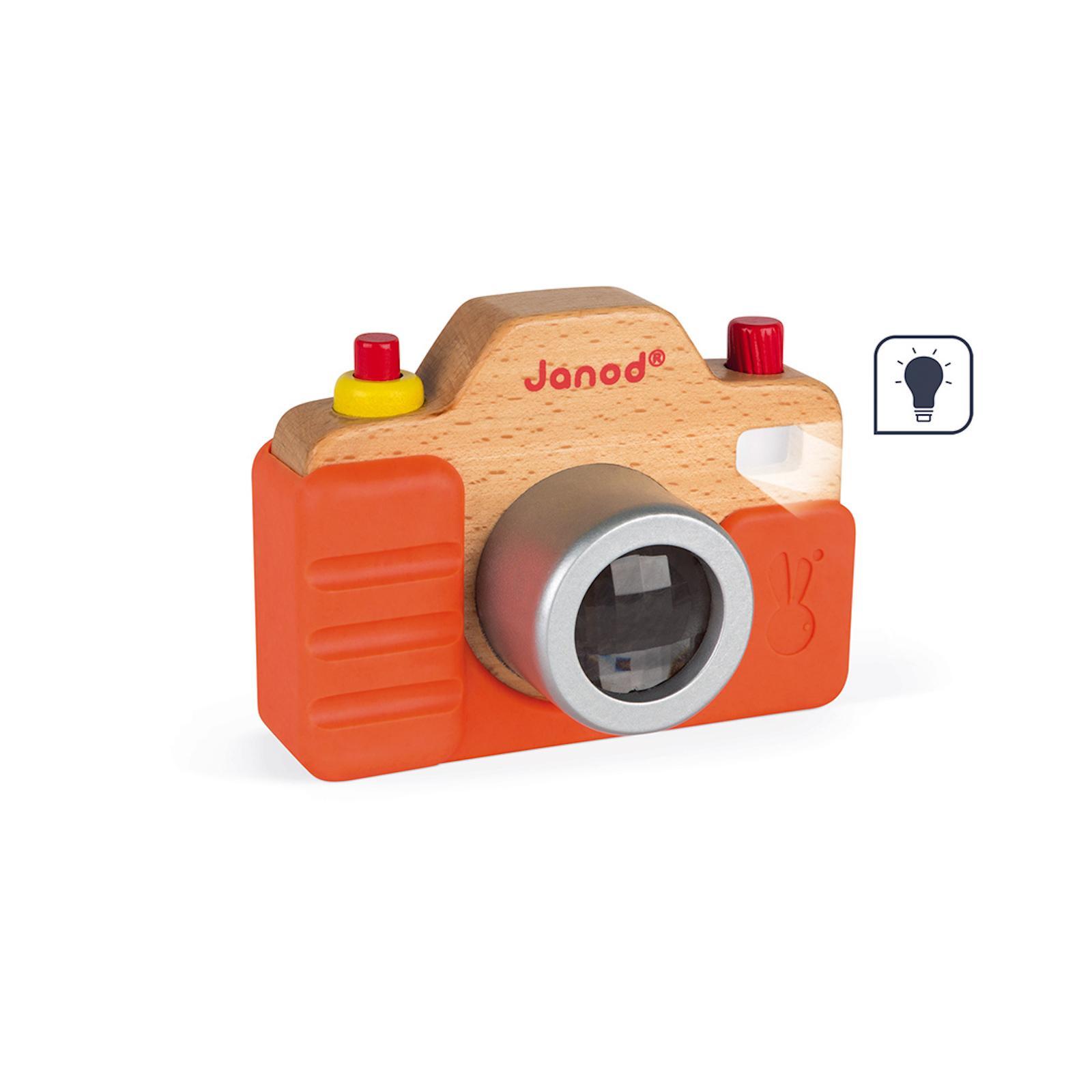Janod Dětský dřevěný fotoaparát se zvukem a světlem od 1 roku 1 ks