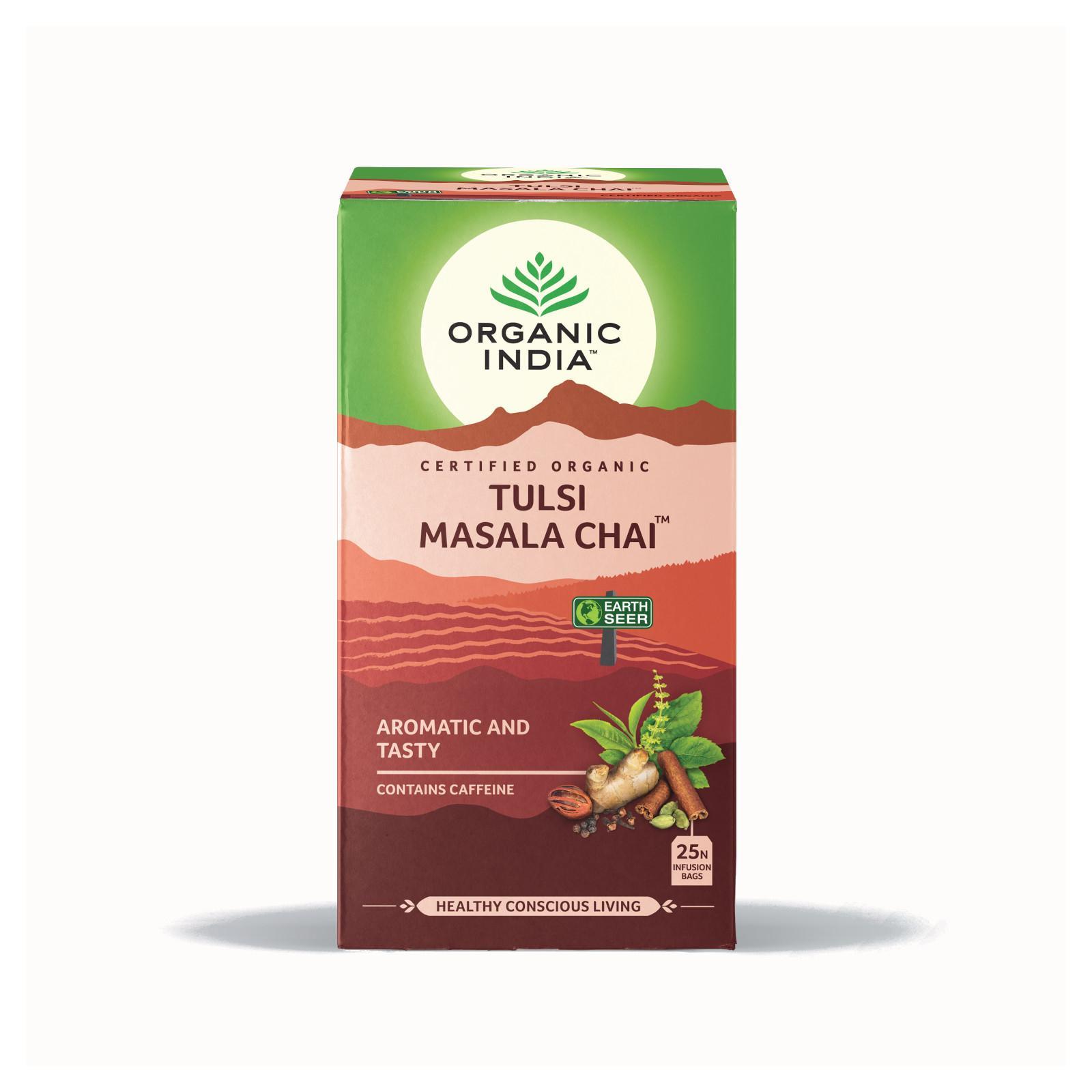 Organic India Čaj Tulsi Chai Masala, porcovaný, bio 43,5 g, 25 ks