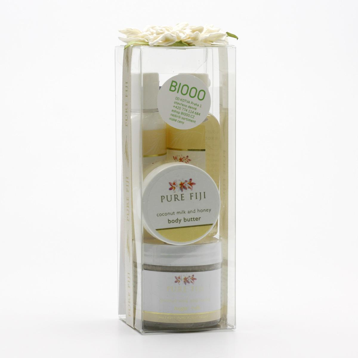 Pure Fiji Dárková sada kokosových produktů, mléko & med 4 ks