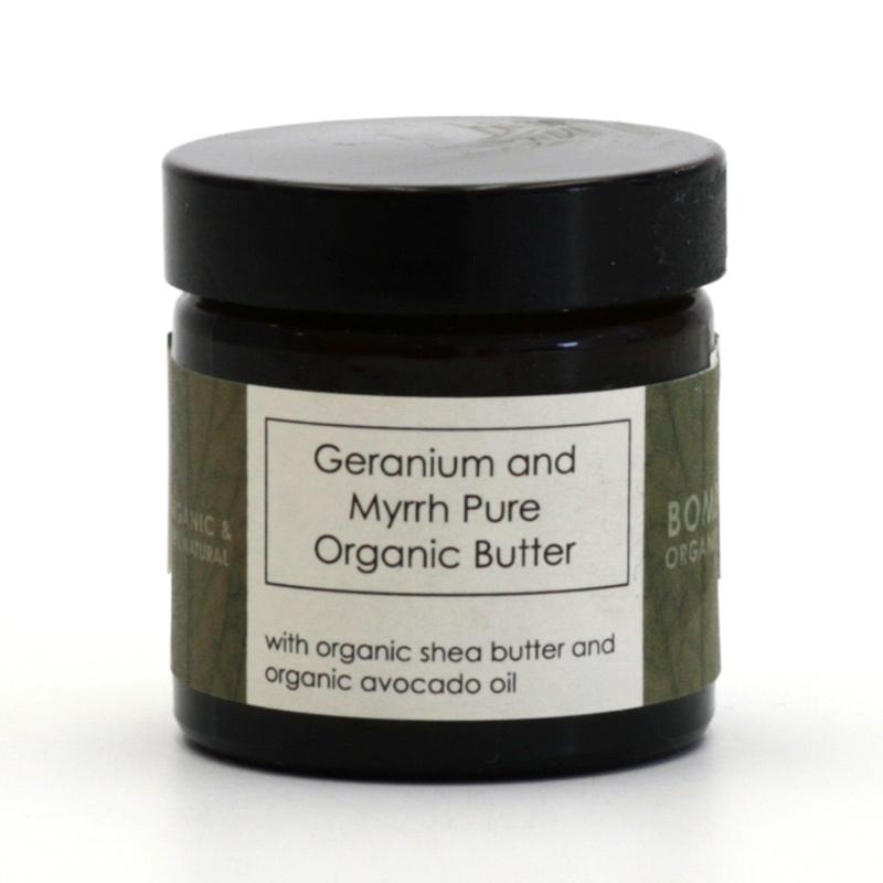 Bomb Cosmetics Výprodej Pleťové máslo geránie a myrha, Bomb Organic 60 ml