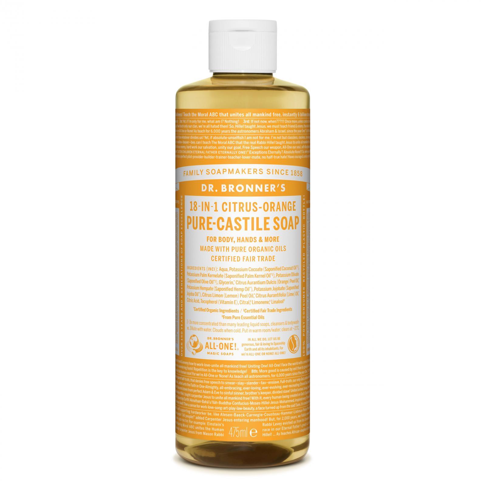 Dr. Bronner's Tekuté universální mýdlo ALL-ONE!, Citrus-Orange 475 ml