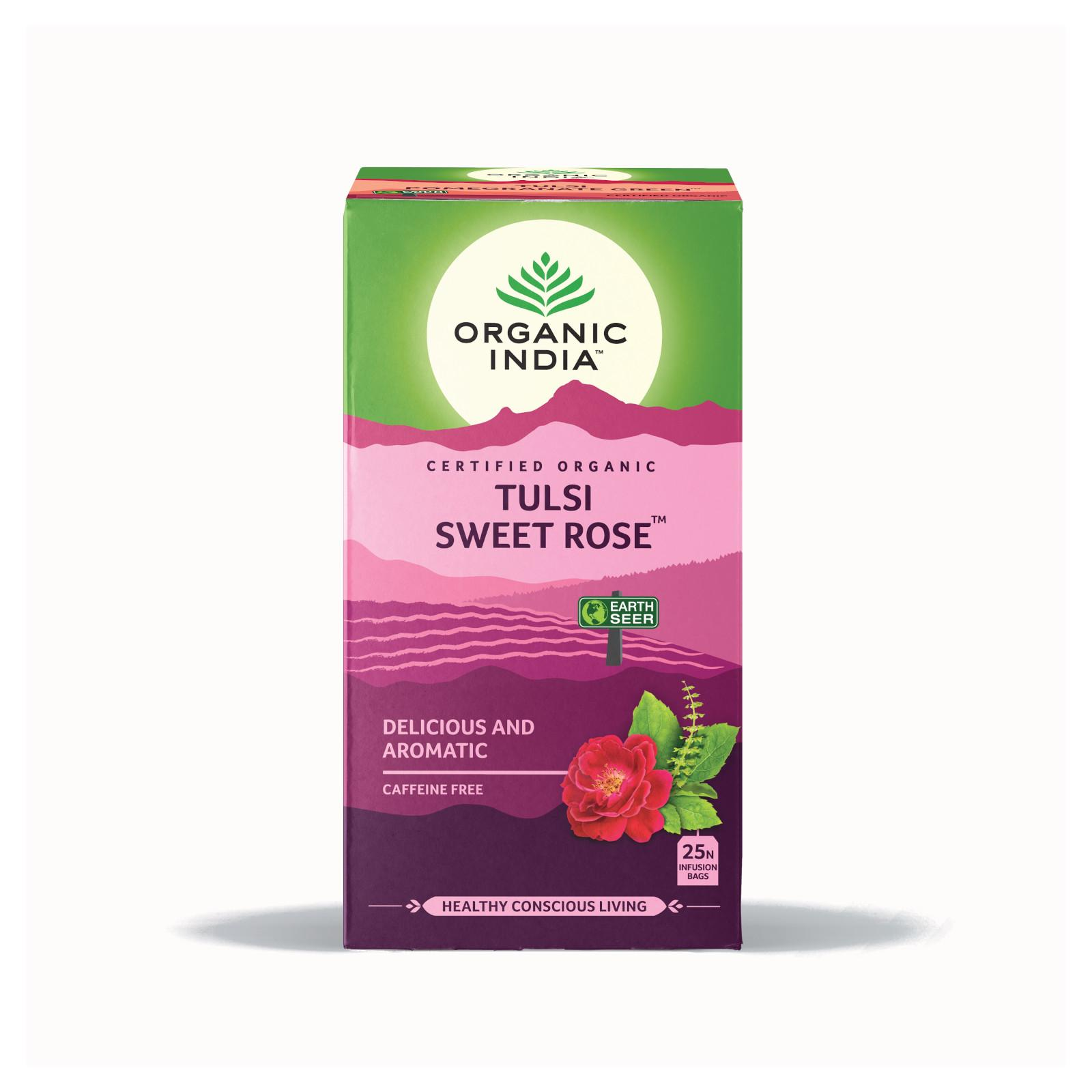 Organic India Čaj Tulsi Sweet Rose, porcovaný 18 ks, 28,8 g