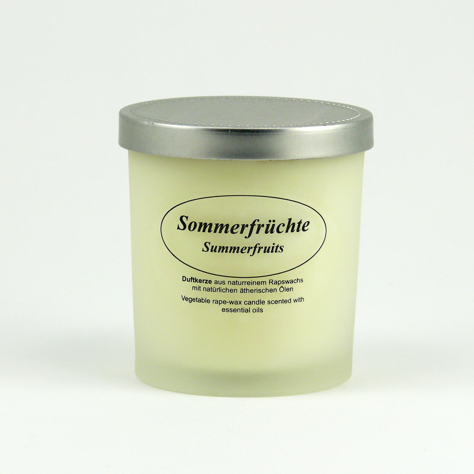 Kerzenfarm Přírodní svíčka Summer Fruits, mléčné sklo 8 cm