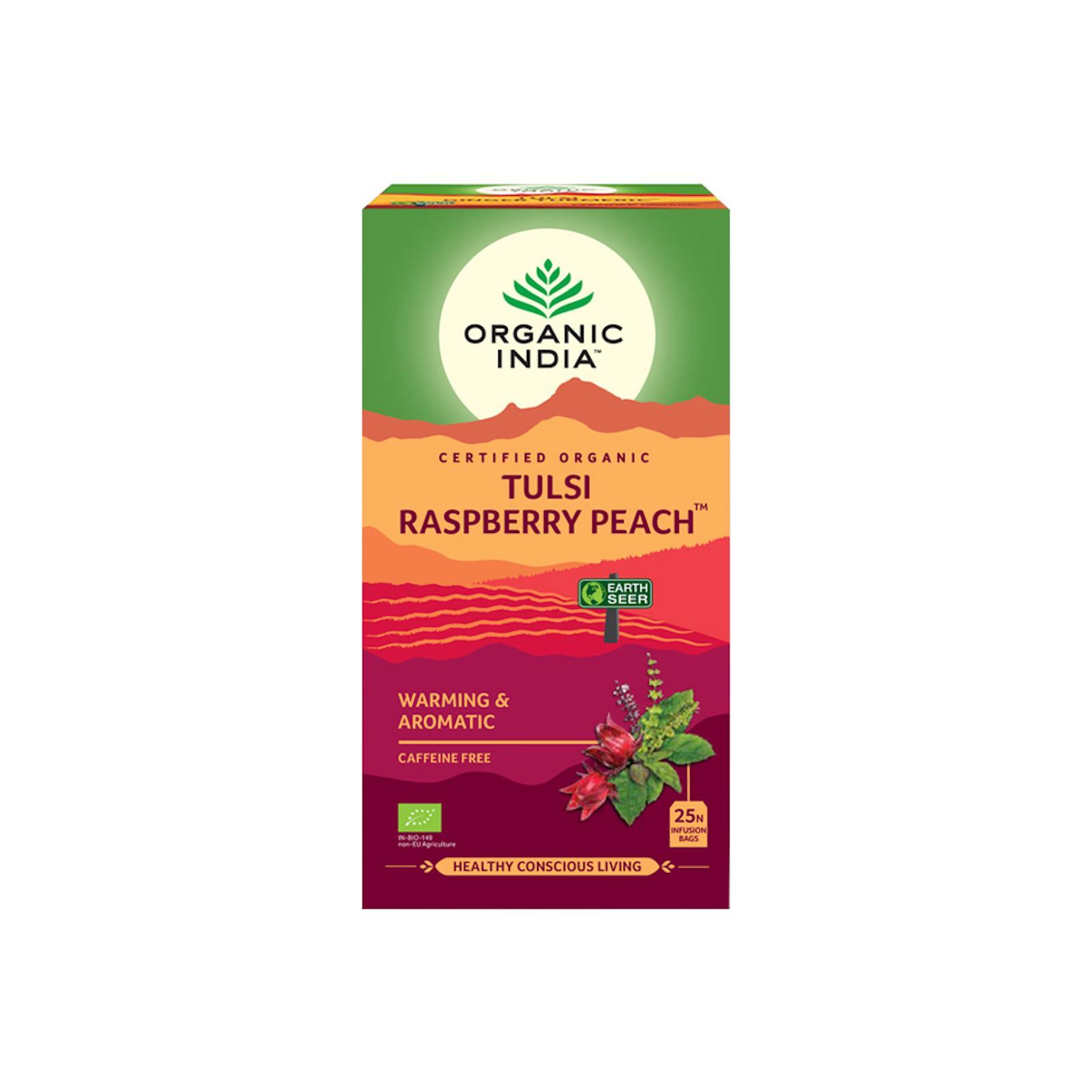 Organic India Čaj Tulsi Raspberry Peach, porcovaný 18 ks, 34,2 g