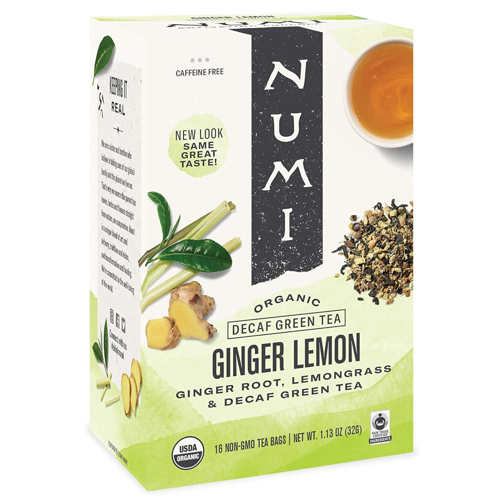 Numi Organic Tea Zelený čaj Decaf Ginger Lemon 32 g, 16 ks