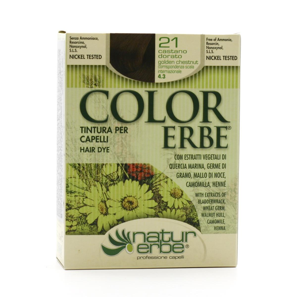 Color Erbe Barva na vlasy Zlatavě kaštanová 21, Natur 135 ml
