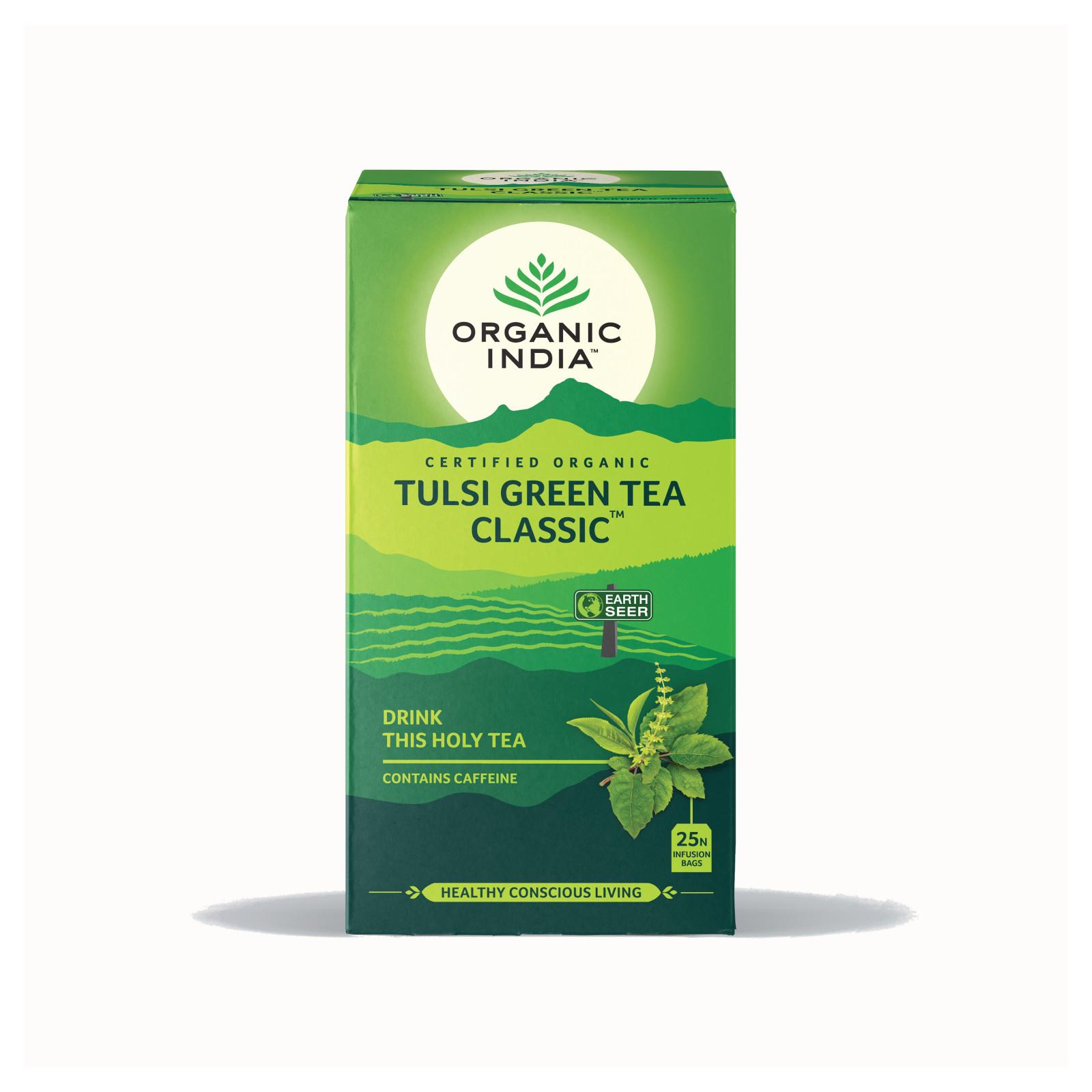 Organic India Čaj Tulsi Green, porcovaný 25 ks, 43,5 g
