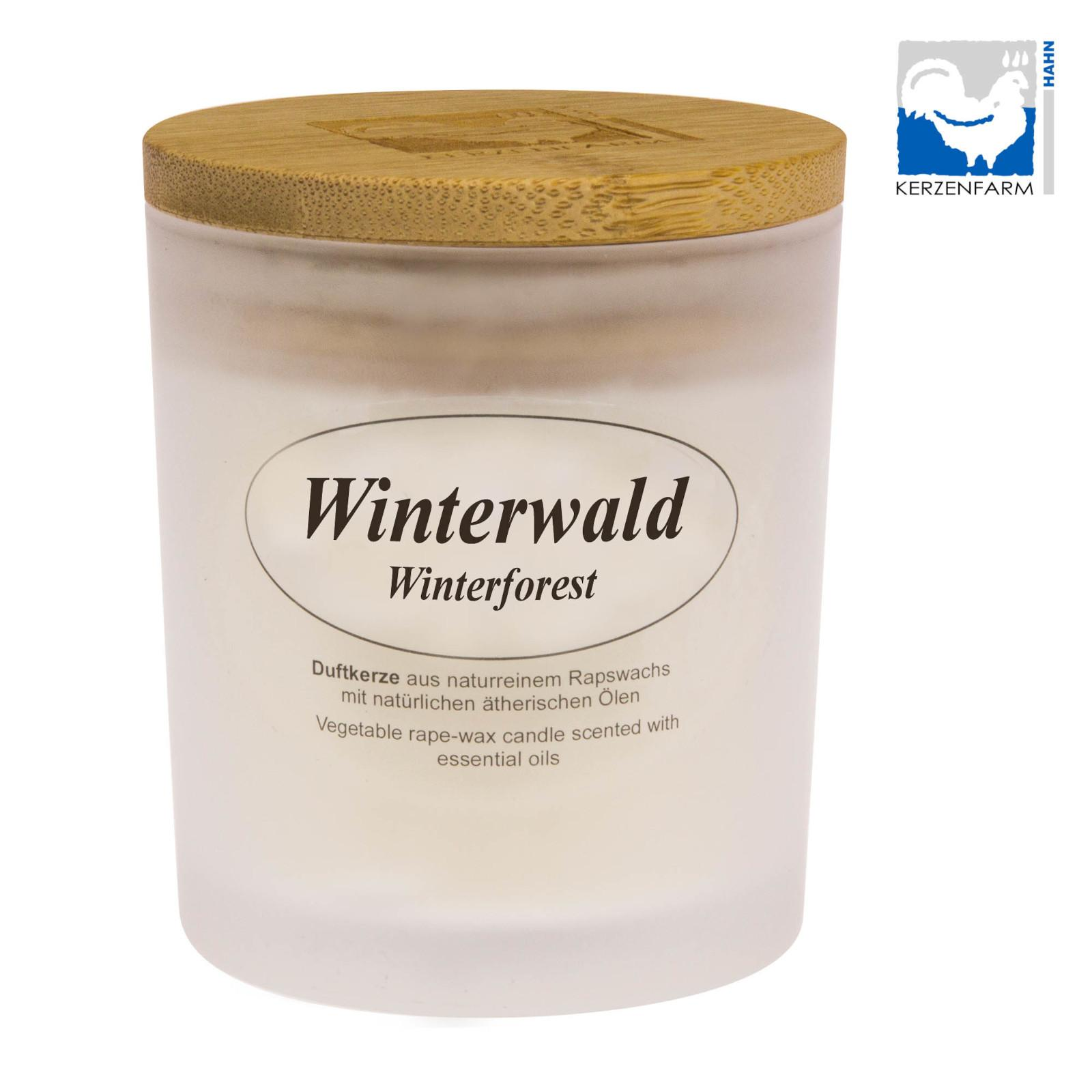 Kerzenfarm Přírodní svíčka Winter Forest, mléčné sklo 8 cm