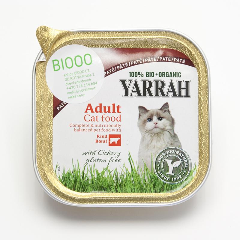 Yarrah Paté pro kočky hovězí s čekankou, Wellness 100 g