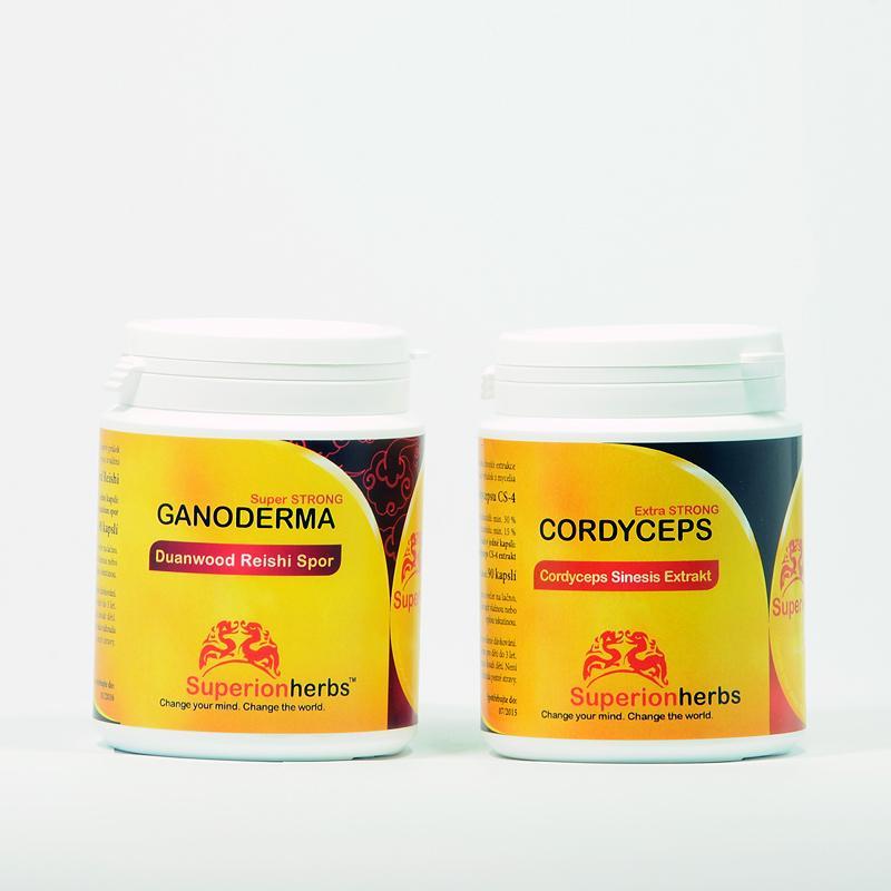 Superionherbs Cordyceps + Ganoderma Reishi, Spor 2*90 kapslí