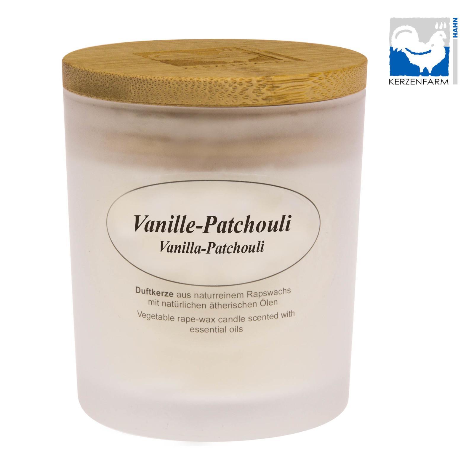 Kerzenfarm Přírodní svíčka Vanilla Patchouli, mléčné sklo 8 cm