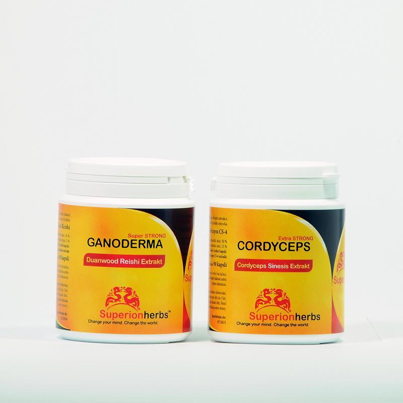Superionherbs Cordyceps + Ganoderma Reishi Extrakt, kapsle 180 ks (2x 90ks)