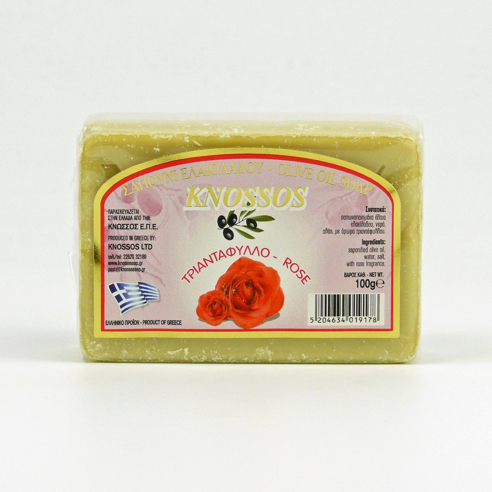 Knossos Mýdlo tuhé olivové, růže 100 g
