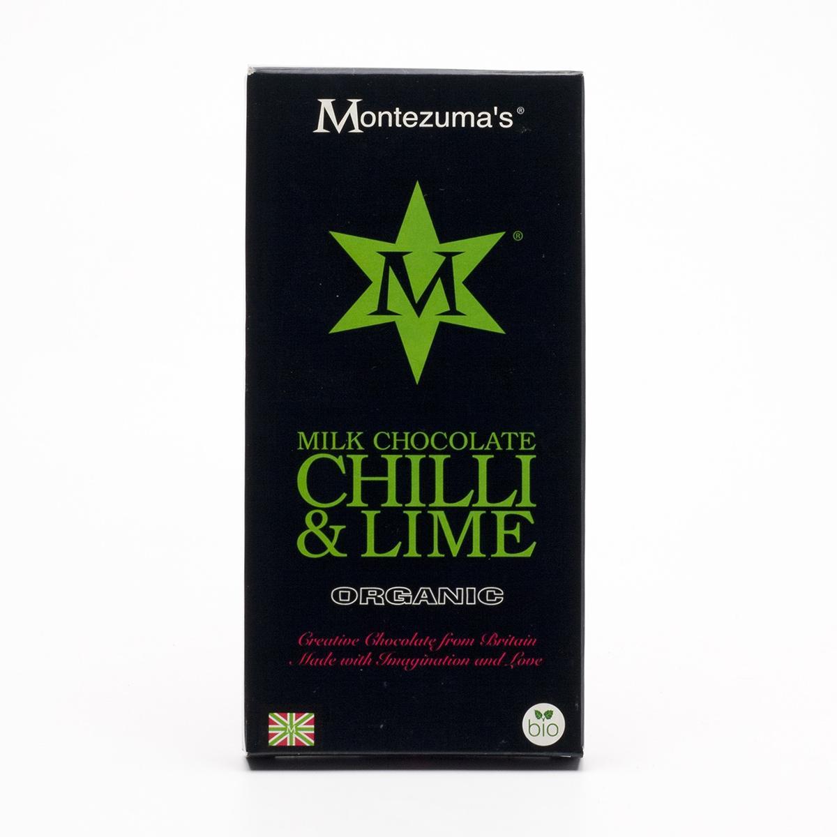 Montezumas Čokoláda mléčná s chilli a limetkou bio 100 g
