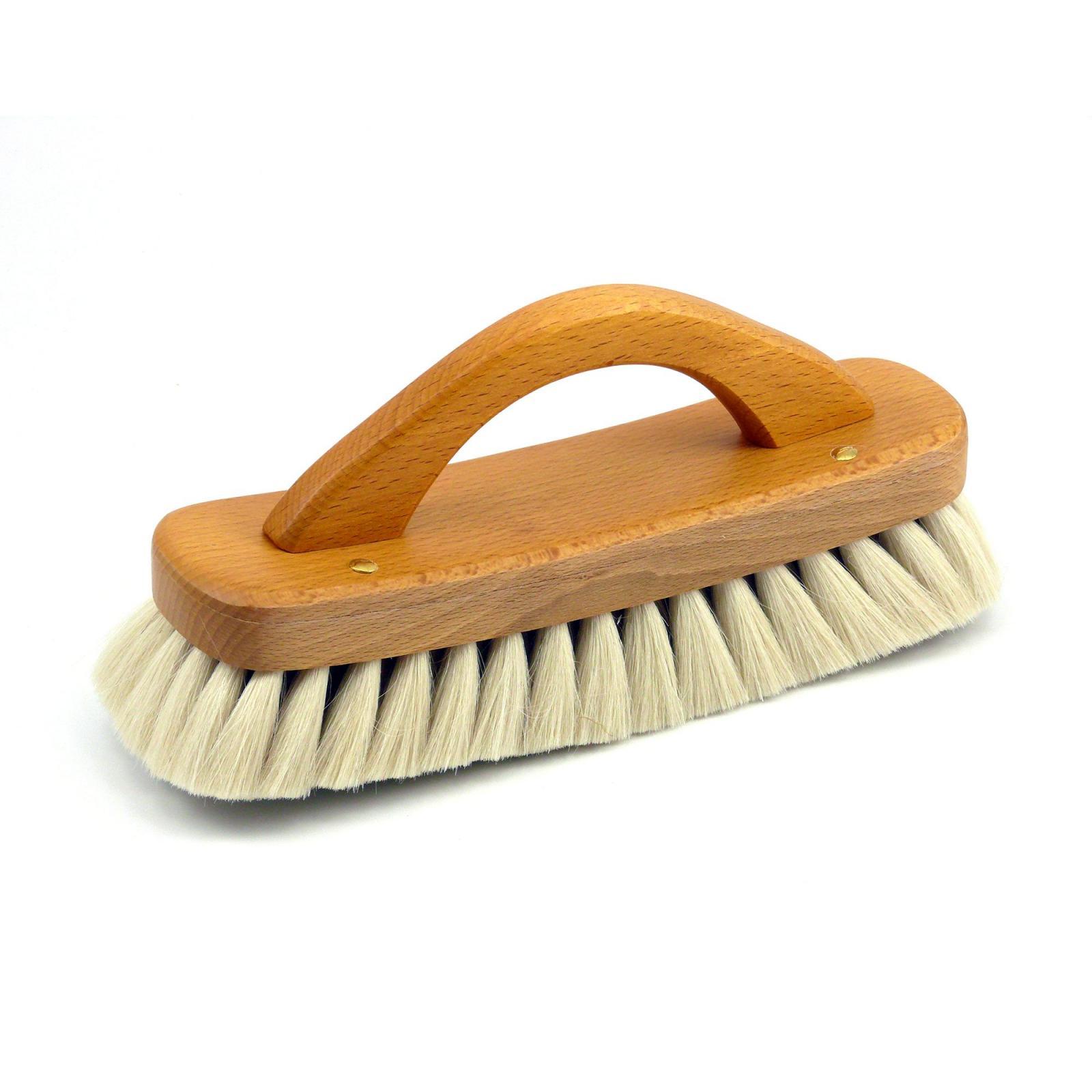 Redecker Lešticí kartáč na boty z bukového dřeva s rukojetí, světlý 21 cm