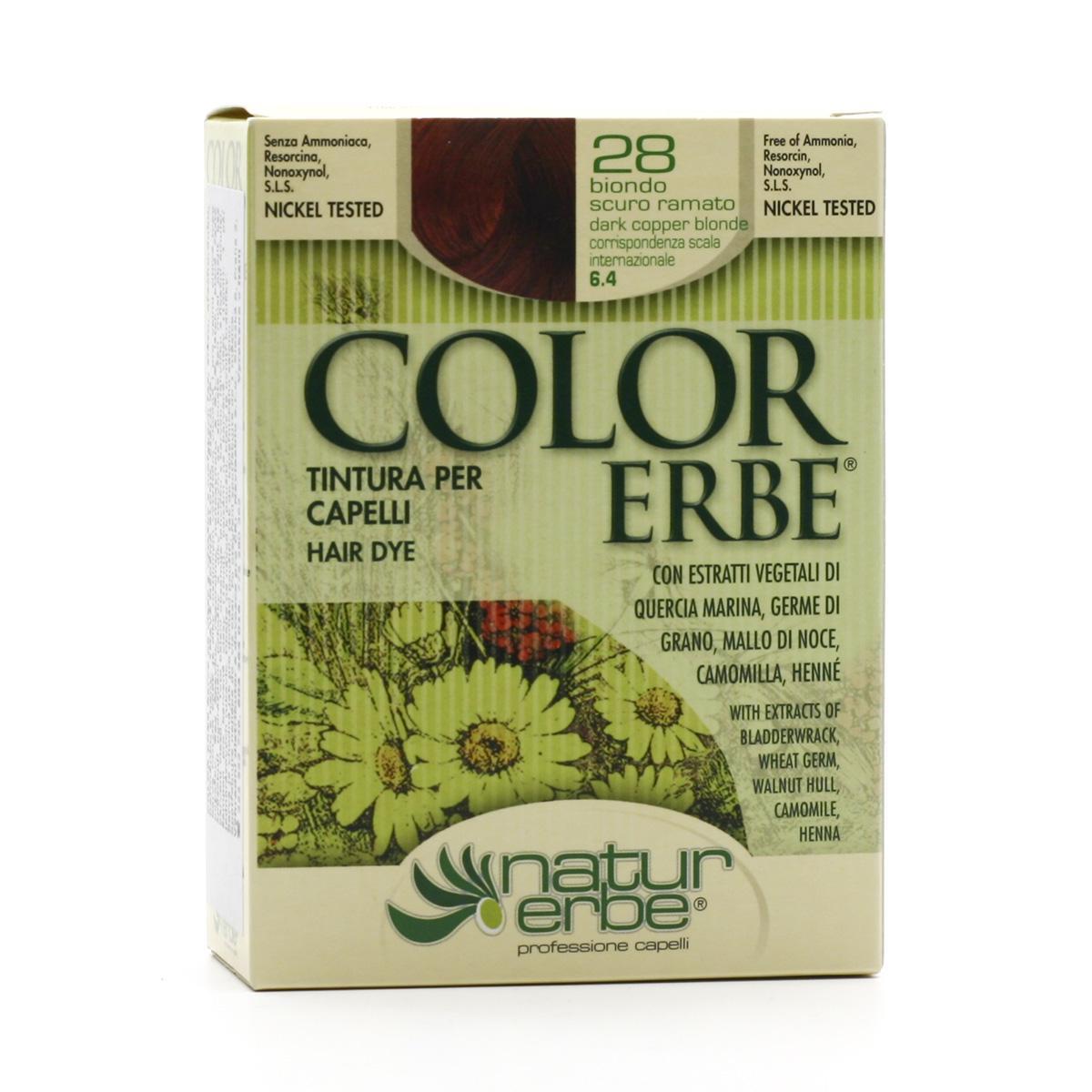 Color Erbe Barva na vlasy Tmavá měděná blond 28, Natur 135 ml