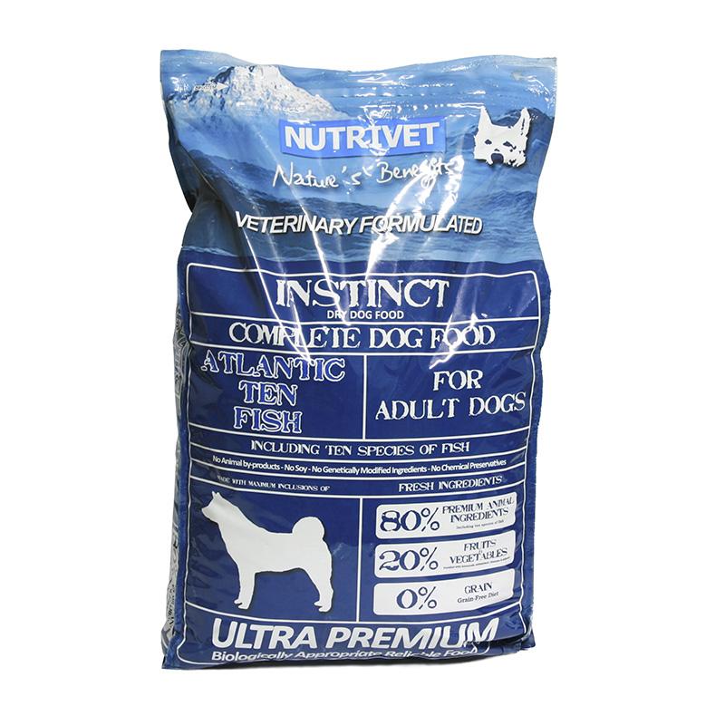Nutrivet x Krmivo pro psy Instinct Atlantic Ten Fish, Nutrivet Ultra Prem 12 kg, psi od 2 let