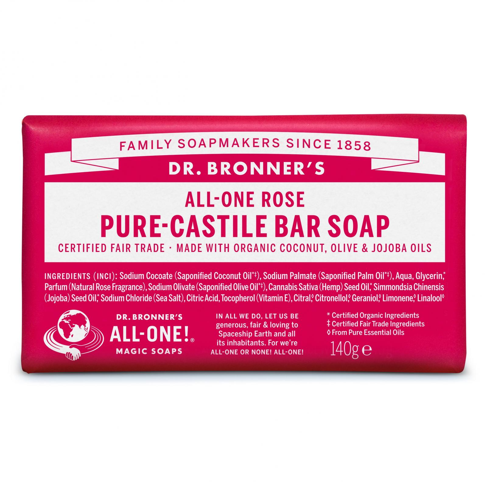 Dr. Bronner's Tuhé mýdlo Rose 140 g