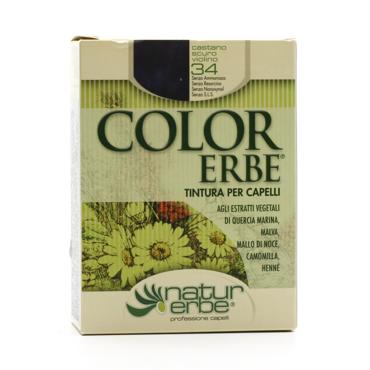 Color Erbe Barva na vlasy Kaštanová temně fialová 34, Natur 135 ml