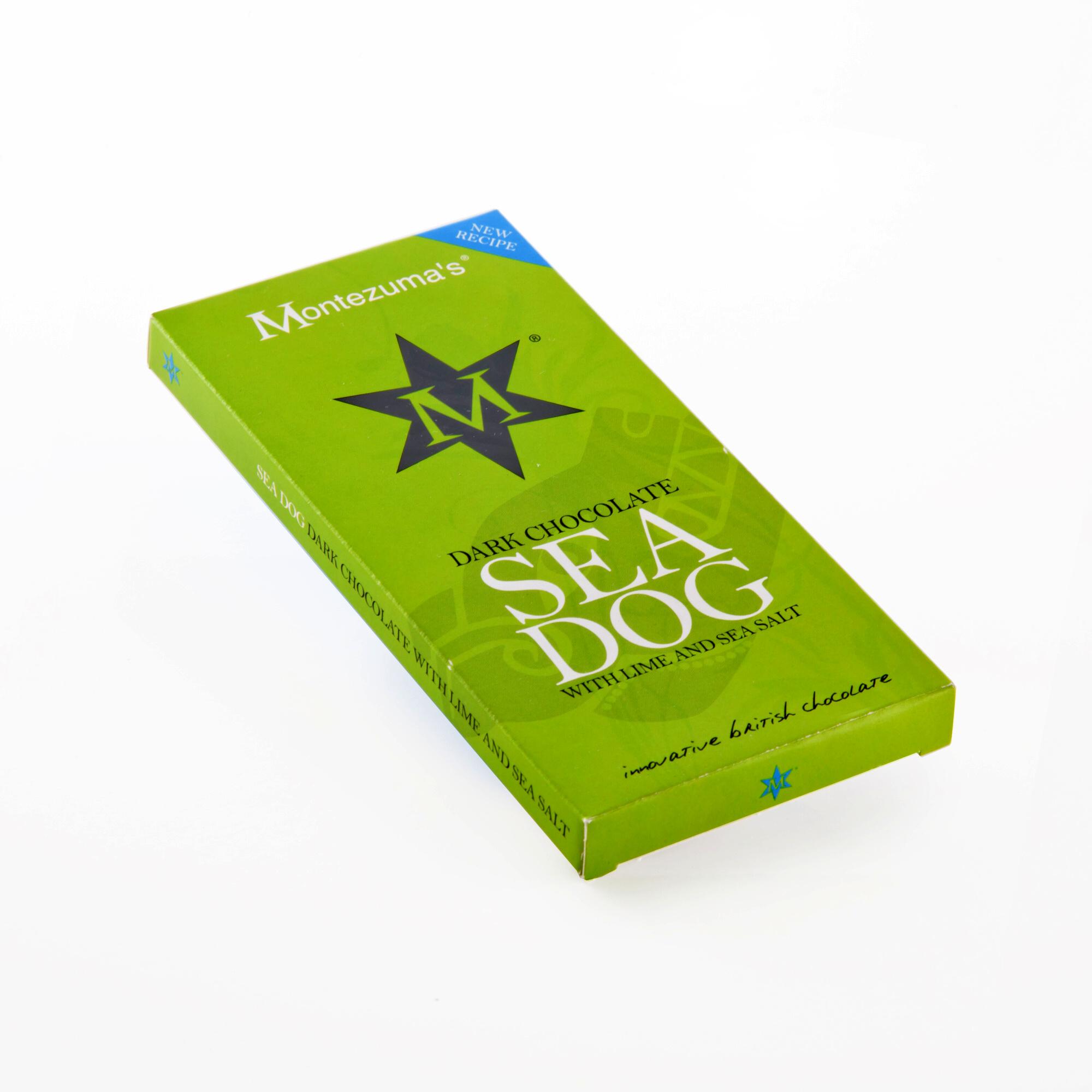 Montezumas Čokoláda tmavá s limetkou a mořskou solí Sea Dog 100 g
