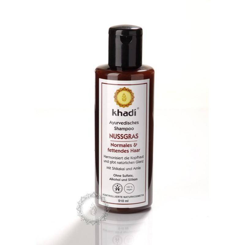 Khadí Šampon Ořechová tráva na normální a mastné vlasy 210 ml