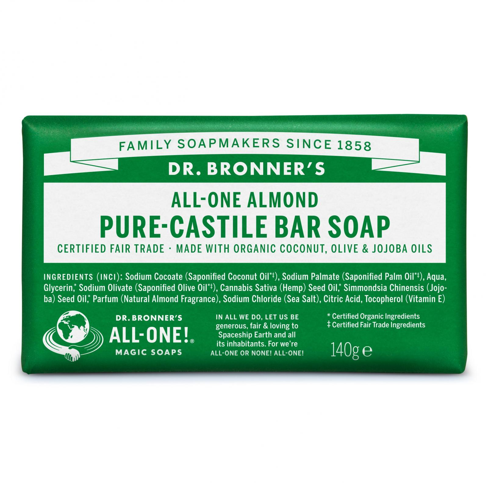 Dr. Bronner's Tuhé mýdlo Almond 140 g