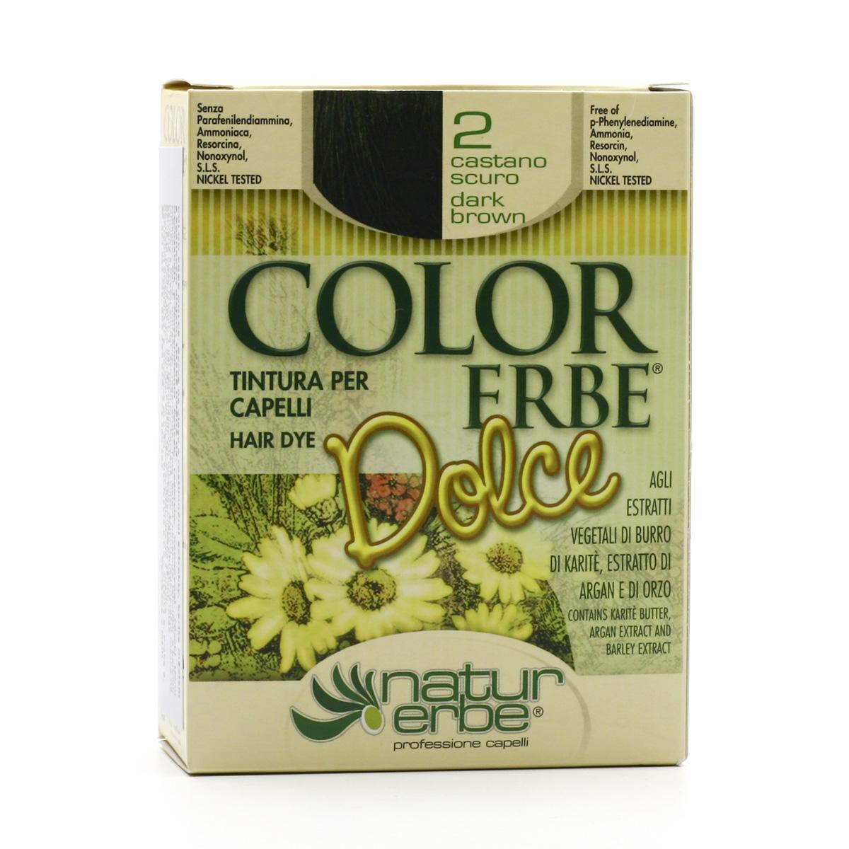 Color Erbe Barva na vlasy Tmavě hnědá 02, Dolce 135 ml