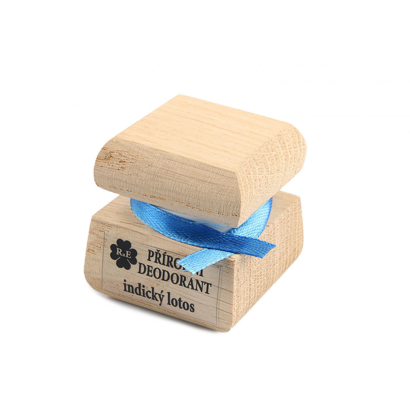 RaE Přírodní krémový deodorant s vůní indického lotosu 15 ml dřevěný obal