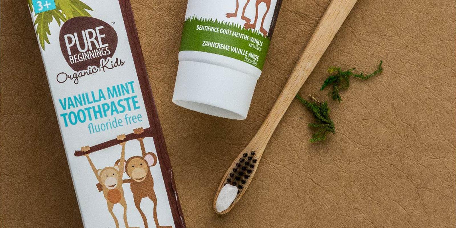 Dětská zubní pasta a bambusový kartáček