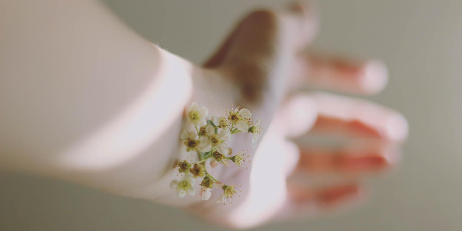 ruka s květinou na zápěstí indikující pocit 'na vlastní kůži'