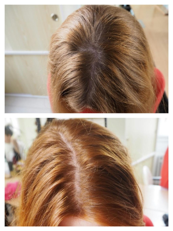 Cosmetikabio Jahodová blond: nahoře před barvením, dole po barvení.