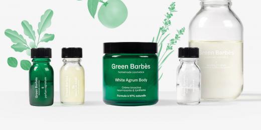 přírodní krémy Green Barbès na stole