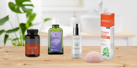 Přírodní produkty Weleda, MÁDARA, Jason, Bebevisa a Terranova Health na stole