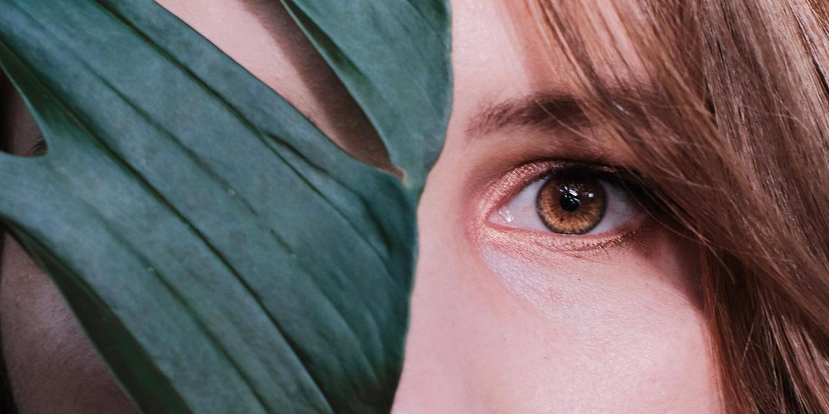 Oko, žena, list, close up oka