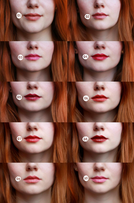 Swatch: Rtěnky puroBIO cosmetics