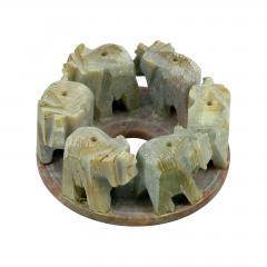 ostatní Stojánek kamenný na vonné tyčinky, sloni v kruhu 1 ks