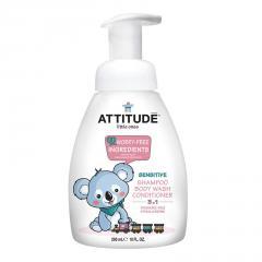 Attitude Dětské tělové mýdlo, šampon a kondicionér 3v1 bez vůně 300 ml
