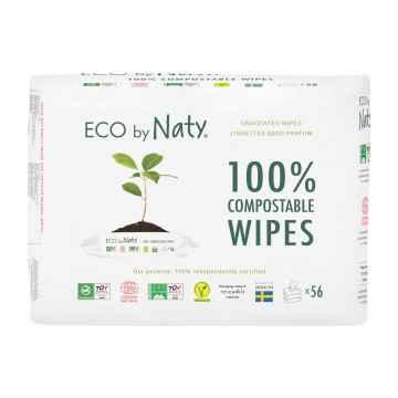 Eco by Naty Vlhčené ubrousky bez vůně - pro citlivou pokožku  56 ks