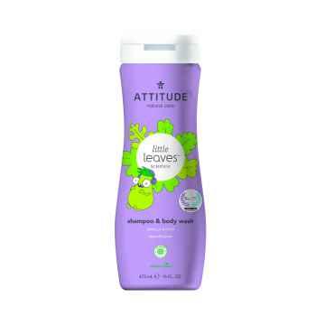 Attitude Dětské tělové mýdlo a šampon (2 v 1) Little leaves s vůní vanilky a hrušky  473 ml