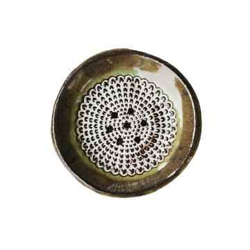 Almara Soap Keramická mýdlenka kulatá - hnědo-zelená 400 g