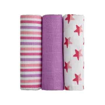 T-TOMI BIO Bambusové pleny pink stars / růžové hvězdičky 3 ks