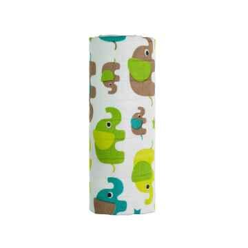 T-TOMI BIO Bambusová osuška green elephants / zelení sloni 1 ks