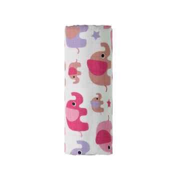 T-TOMI BIO Bambusová osuška pink elephants / růžoví sloni 1 ks