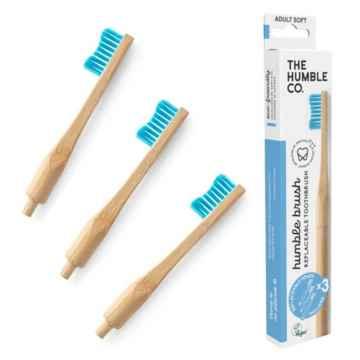 Humble Brush Zubní kartáček soft a vyměnitelné hlavice, modrý 1 + 2 ks