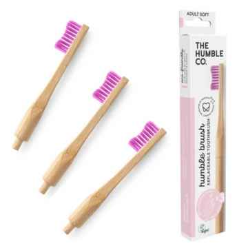 Humble Brush Zubní kartáček soft a vyměnitelné hlavice, fialový 1 + 2 ks