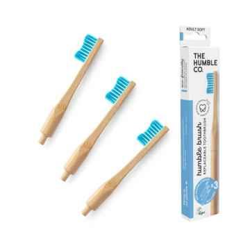 Humble Brush Zubní kartáček medium a vyměnitelné hlavice, modrý 1 + 2 ks