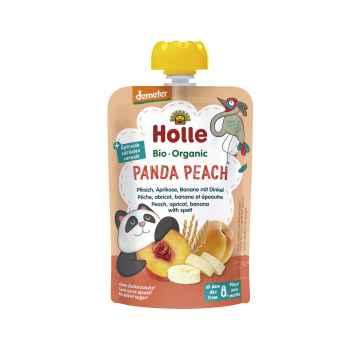 Holle Panda Peach Bio ovocné pyré broskev, meruňka, banán, špalda 100 g