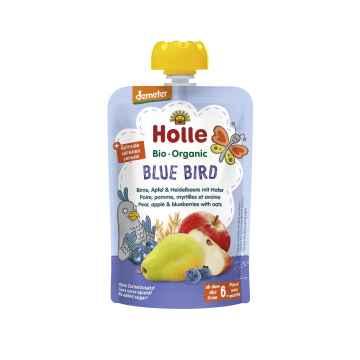 Holle Blue Bird Bio ovocné pyré hruška jablko, borůvky a vločky 100 g