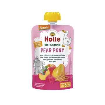 Holle Pear Pony Bio ovocné pyré hruška broskev, maliny a špalda 100 g