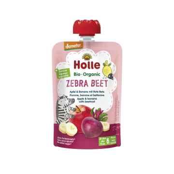 Holle Zebra Beet Bio ovocné pyré jablko, banán a červená řepa 100 g